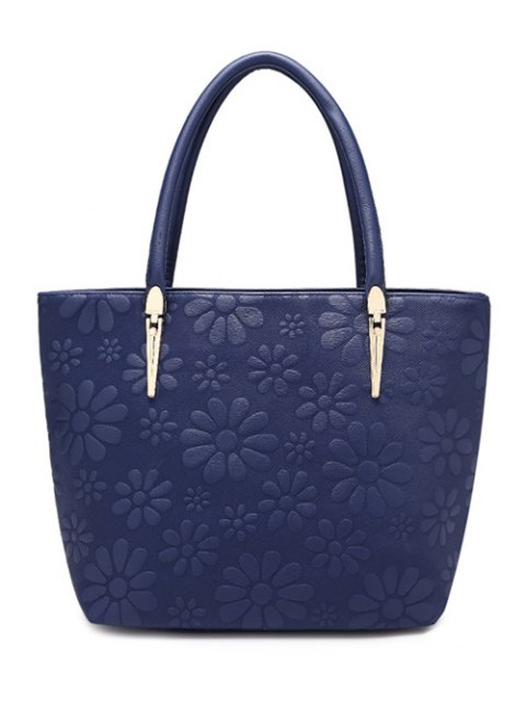 online Daisy Pattern PU Leather Metal Shoulder Bag - DEEP BLUE  Mobile
