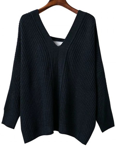 womens Back Lace Up Loose Fitting V Neck Sweater - BLACK ONE SIZE Mobile