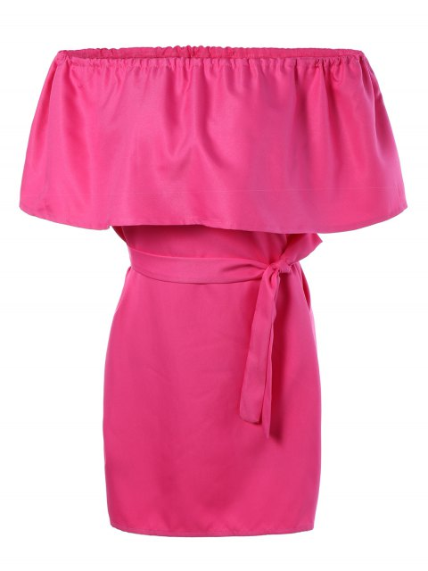 women Ruffles Off The Shoulder Mini Dress - ROSE RED ONE SIZE Mobile