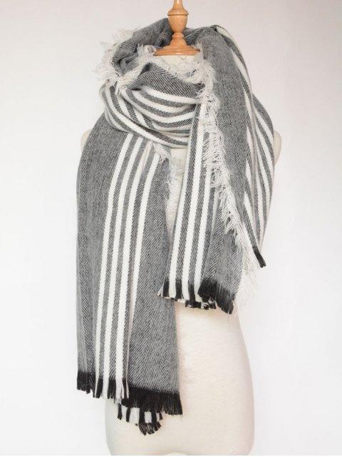sale Stripe Fringed Shawl Wrap Scarf - BLACK  Mobile