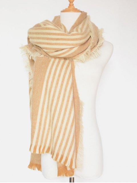 buy Stripe Fringed Shawl Wrap Scarf -   Mobile