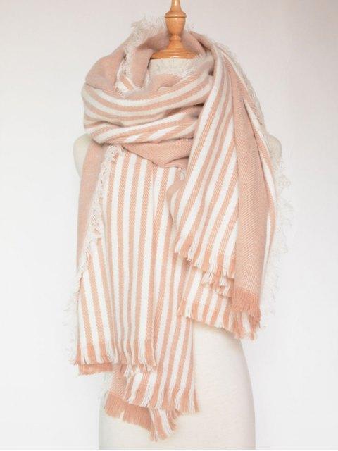 womens Stripe Fringed Shawl Wrap Scarf -   Mobile