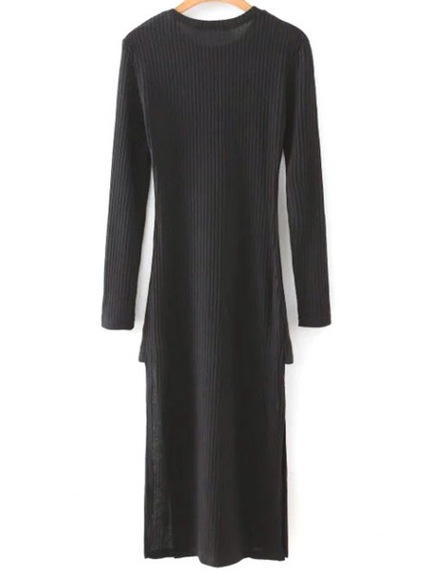 buy Side Slit Round Neck Long Sleeve Sweater Dress - BLACK M Mobile