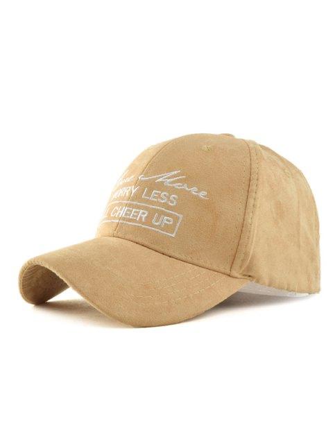 shop Letter Faux Suede Baseball Hat - LIGHT KHAKI  Mobile