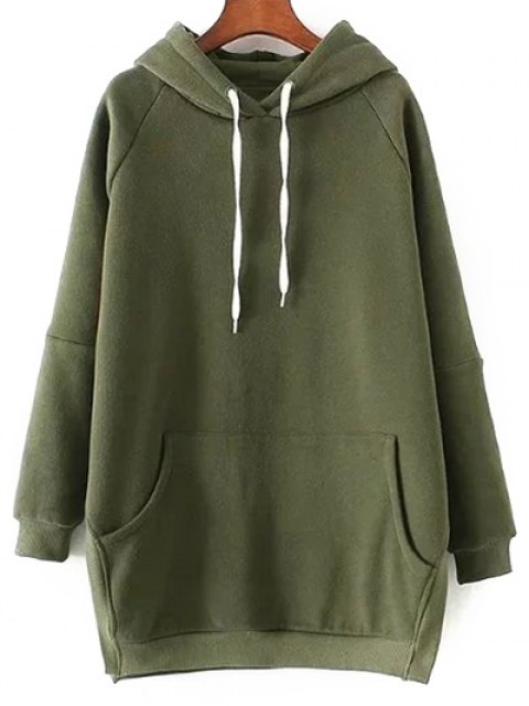 online Solid Color Side Slit Drawstring Hoodie - ARMY GREEN S Mobile