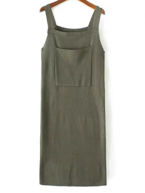 chic Back Slit Front Pocket Tank Sweater Dress - ARMY GREEN ONE SIZE Mobile