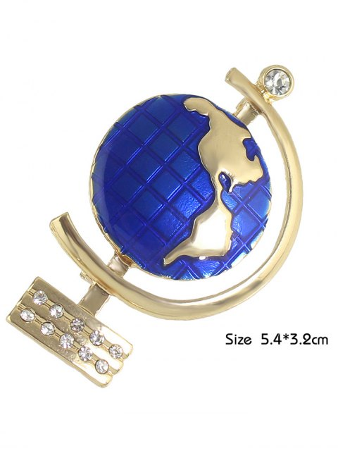 ladies Tellurion Shape Rhinestone Brooch - GOLDEN  Mobile