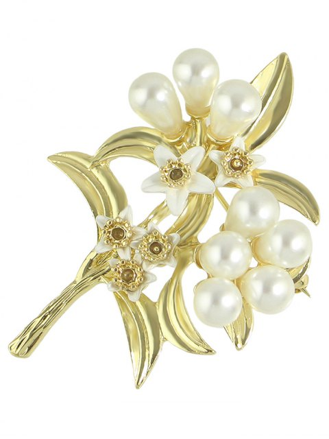 lady Faux Pearl Leaf Floral Alloy Brooch - GOLDEN  Mobile