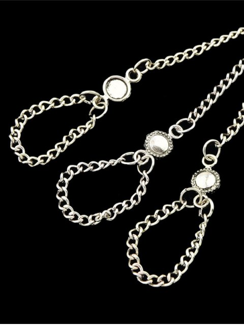 shop Alloy Charm Chains Bracelet With Ring - SILVER  Mobile