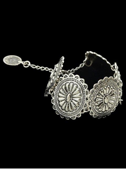 shops Engraved Floral Pattern Alloy Bracelet -   Mobile