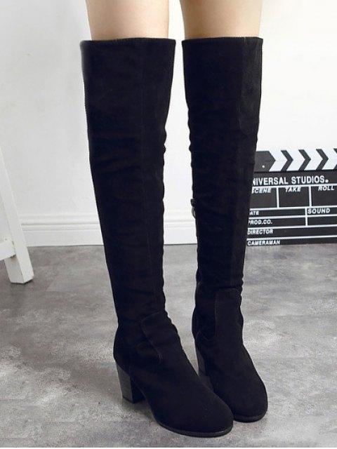 lady Flock Zipper Chunky Heel Thing High Boots - BLACK 37 Mobile