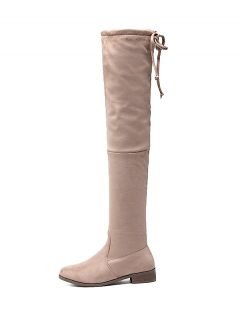 latest Flat Heel Flock Zipper Thing High Boots - APRICOT 37 Mobile