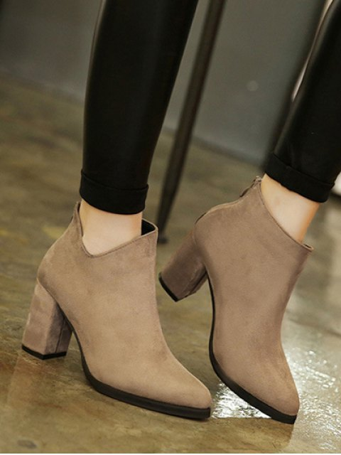 women's Pointed Toe Chunky Heel Flock Ankle Boots - CAMEL 39 Mobile