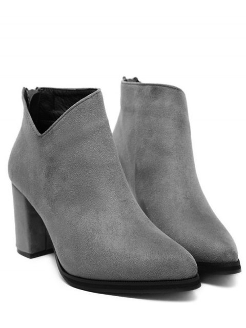 outfit Pointed Toe Chunky Heel Flock Ankle Boots - GRAY 37 Mobile