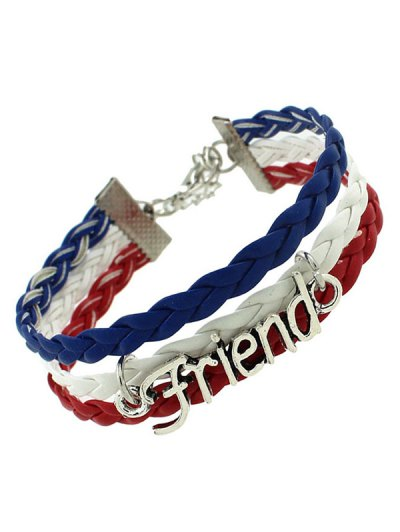 Faux Leather Flag Woven Friend Bracelet - BLUE  Mobile
