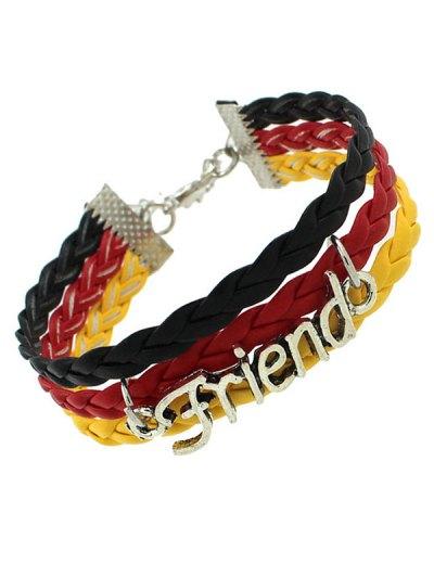 Faux Leather Flag Woven Friend Bracelet - BLACK  Mobile