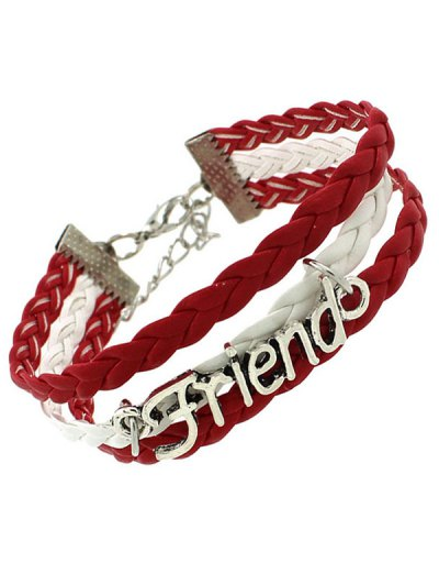 Faux Leather Flag Woven Friend Bracelet - RED  Mobile