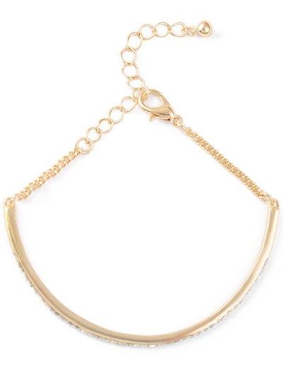 Alloy Rhinestone Half-Circle Chain Bracelet - GOLDEN  Mobile