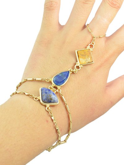 Geometric DIY Raw Stone Bracelet With Ring - GOLDEN  Mobile