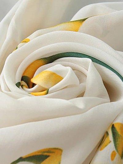 Calla Pattern Chiffon Pashmina - WHITE  Mobile