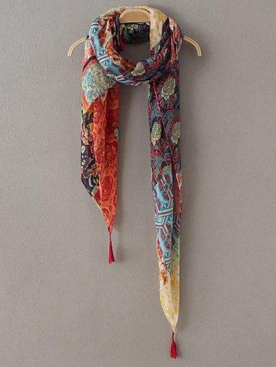 Flower Patchwork Tassel Pashmina - YELLOW  Mobile