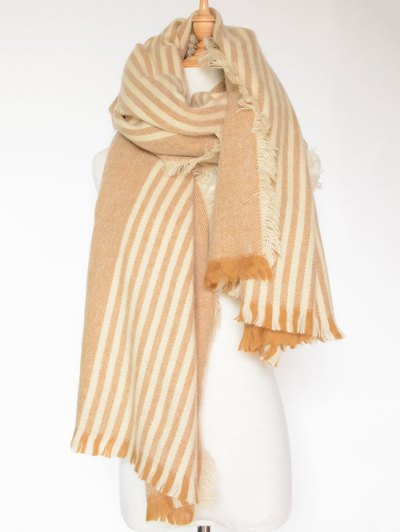 Stripe Fringed Shawl Wrap Scarf - LIGHT BROWN  Mobile
