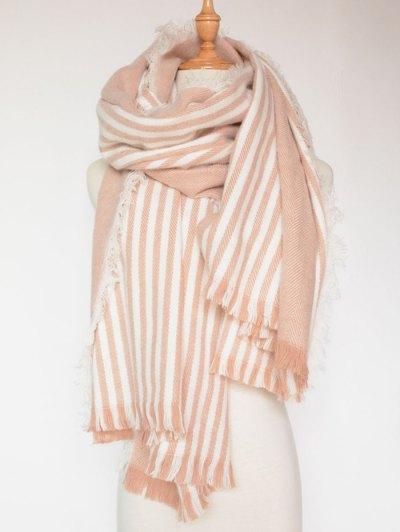 Stripe Fringed Shawl Wrap Scarf - PINK  Mobile