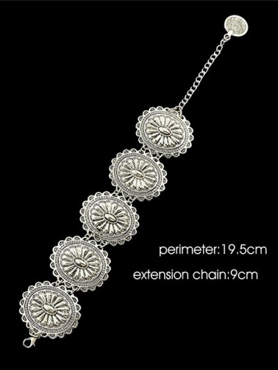Engraved Floral Pattern Alloy Bracelet - SILVER  Mobile