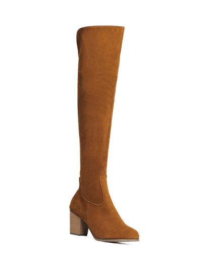 Flock Zipper Chunky Heel Thing High Boots - BROWN 38 Mobile