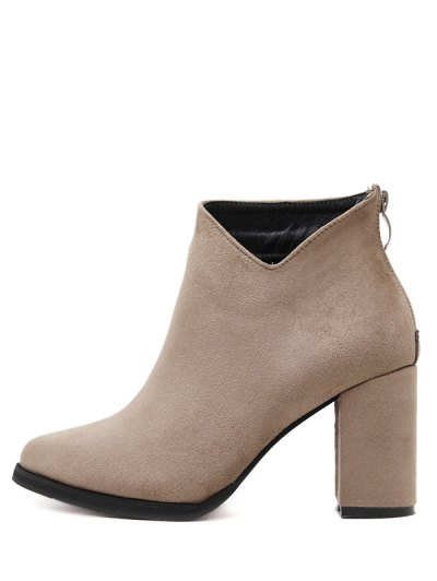 Pointed Toe Chunky Heel Flock Ankle Boots - CAMEL 38 Mobile