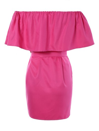Ruffles Off The Shoulder Mini Dress - ROSE RED ONE SIZE Mobile