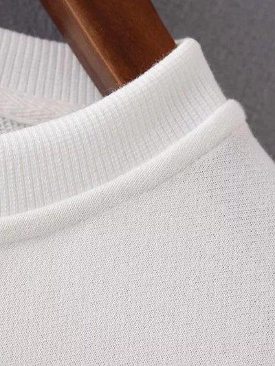 Round Neck Maple Leaf Print Sweatshirt - OFF-WHITE M Mobile