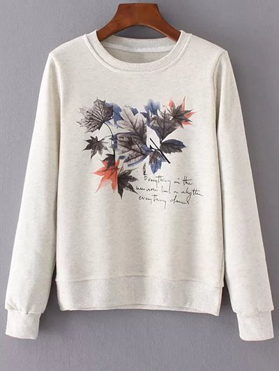 Round Neck Maple Leaf Print Sweatshirt - OFF-WHITE S Mobile