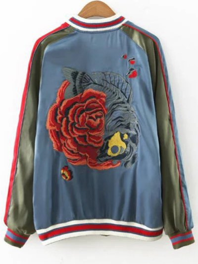 Flower Embroidered Reversible Baseball Jacket - ARMY GREEN M Mobile