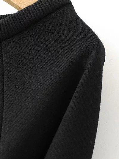 Round Neck Number Print Sweatshirt - BLACK L Mobile