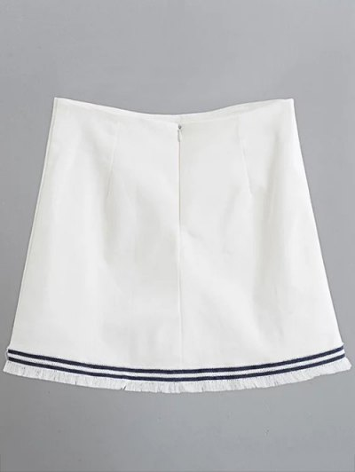 Floral Applique Mini A Line Skirt - WHITE S Mobile