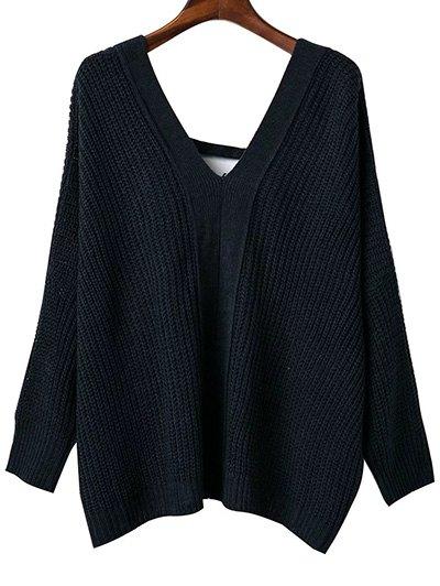 Back Lace Up Loose Fitting V Neck Sweater - Black