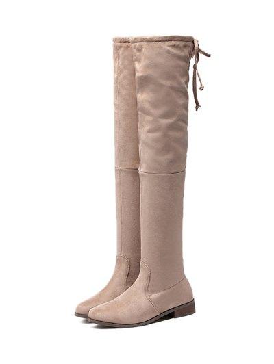 Flat Heel Flock Zipper Thing High Boots - APRICOT 39 Mobile