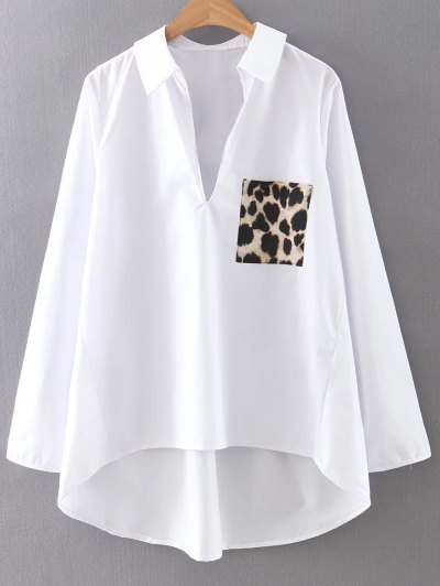 Leopard Pocket High Low Blouse - White