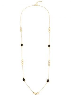 Artificial Gem Oval Circle Sweater Chain - Golden