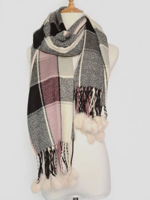 Plaid Pompon Pashmina - Gray