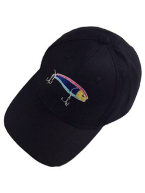Fish And Fishhook Embroidery Baseball Hat - Black