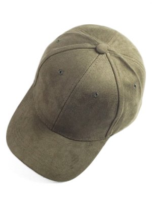 Brief Faux Suede Baseball Hat - Army Green