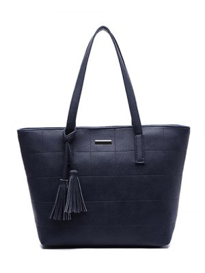 Checked Pattern Metal Tassels Shoulder Bag - Deep Blue