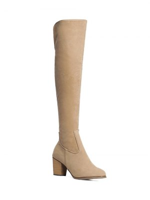 Flock Zipper Chunky Heel Thing High Boots - Light Khaki