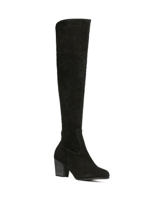 Flock Zipper Chunky Heel Thing High Boots