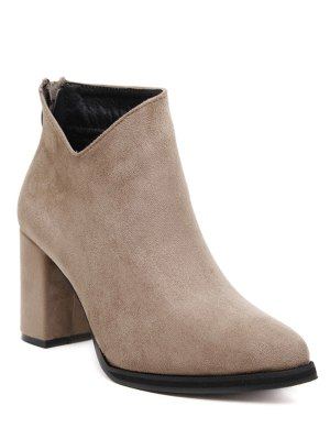 Pointed Toe Chunky Heel Flock Ankle Boots - Camel