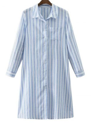 Striped Fitting Shirt Collar Long Sleeve Dress - Blue