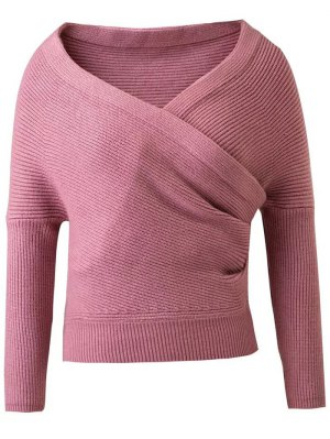 V Neck Cross Front Cropped Sweater - Pink