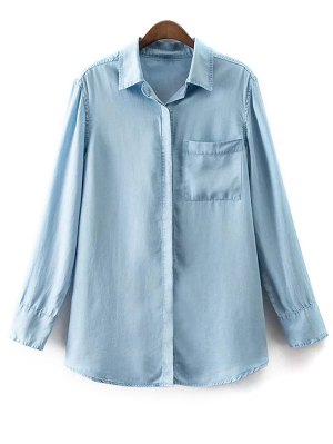 Pocket Shirt Neck Long Sleeve Denim Shirt - Light Blue
